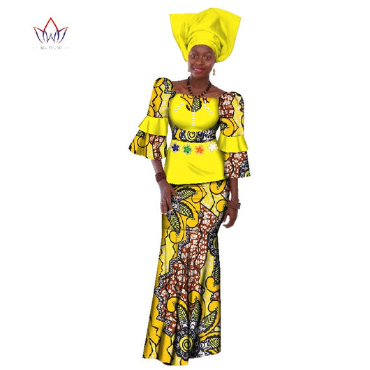 Summer Women Dress Traditional African Traditional 2 Pieces Women Set Clothing Custom Made Tops + Skirts Hot Sale BRW  WY156