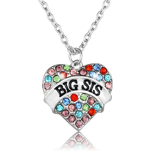 women's necklaces and pendants,Colorful Big Sis Sister Heart Rhinestone Crystal Pendant Necklace Women Girl Friends BFF Jewelry for gift
