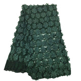 African lace fabric, High Quality Embroidery Lace Fabrics Net Lace 3D Flower Fabric For Wedding Dress Nigerian Tulle Lace Fabric -5yard