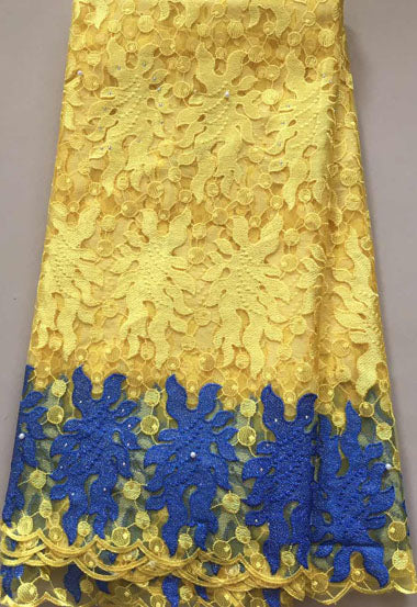African lace fabric, High Quality Embroidered African lace Fabric High Quality net Lace Fabric For Wedding Dress ,French Net Lace Fabric YELLOW