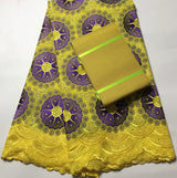 Top Quality 5yards 100% Cotton Guipure Lace Fabric, Yellow African Lace Fabric With Aso Oke Gele for party wedding CAX022