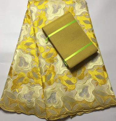 High Quality African Lace Fabrics, Swiss Voile Fabric with matching Aso Oke