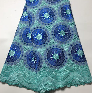 Popular African cotton swiss volie lace fabrics with stones for wedding party dress, Royal blue