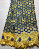 Latest French Nigerian Lace Fabrics High Quality Tulle African Laces Fabric Wedding African French Tulle Lace CYL642 YELLOW
