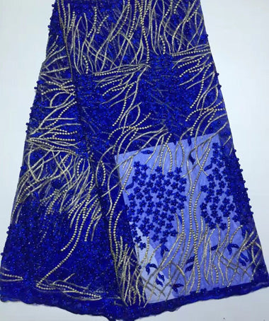 5 Yards Top quality royal blue African tulle net lace fabrics with many beads for women/men wedding party