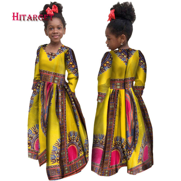 African Autumn Girl Dress Kids Dashiki Traditional Cotton Long Sleeve Dresses Matching Africa Print Girl Natural Dress WYT61