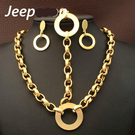 Wholesale Fashion Jewelry Stainless Steel Round Chain Necklace & Bracelet Set