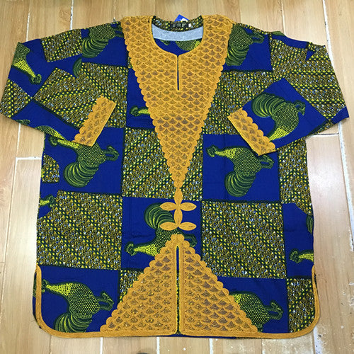 African Men Prints Dress For Man embroidery top with pants 2pcs/set have pocket