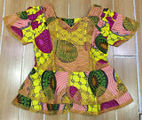 WOMEN KITENGE CLOTHES DRESS with cording embroidery short top with wrapper and scarf 3pieces/set For women