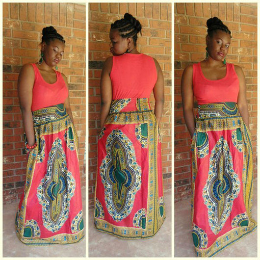 African Clothing Women Traditional Pink Print Sleeveless O-neck Floor Length High Elastic Big Swing Dashiki Stiching Dress-owame1