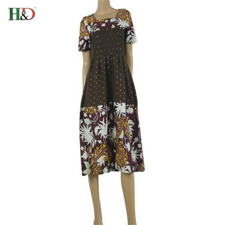 2017 African women clothes Ankara wax printing fabric batik dresses fashion printing short sleeve dress