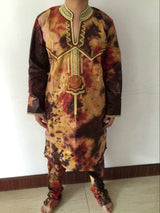 African men's clothing design Robes design dress with bazin embroidery men shirt with trouser-002