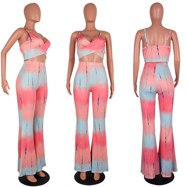 efff44639b8 ... Fashion Tie Dye Print Crop Tops and Pants Women 2 Piece Set Summer  Style Sexy Spaghetti
