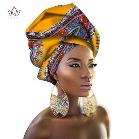 Multi-color Hair Accessory Headband Bazin Head Wrap Tie Scarf High Quality African Hair Head Scarf Gele & Ipele BRW02
