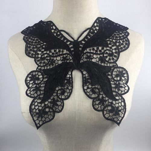 1pc Black Embroidery Collar Venise Sequin Floral Embroidered Applique Lace Neckline Collar Garment Accessories Scrapbooking