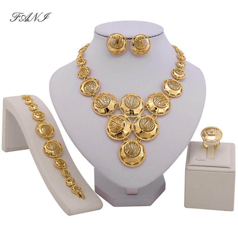 2017 fashion african beads jewelry set Gold Color Crystal Wedding Women Bridal Accessories dubai jewelry for Wholesale customer