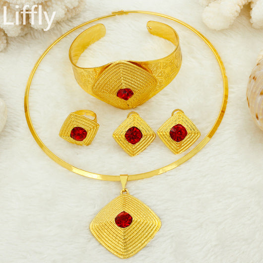 High Quality Dubai Women Jewelry African beads Jewelry Sets Red Crystal Pendant Necklace Earrings Fashion Wedding Jewelry-OWAME78