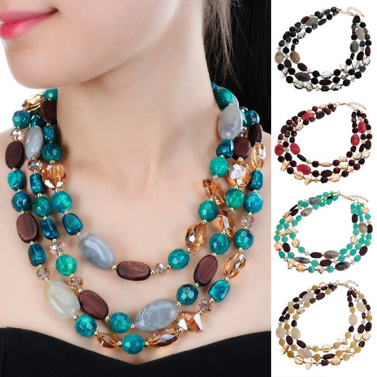 5 Colors Resin Crystal Boho Ethnic Style Handmade Rope Chain Imitation Stone Statement Pendant Necklaces for Women-OWAME78