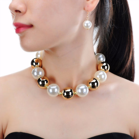 Fashionable beautiful Set of Resin Beads and simulated pearl Choker Collar Statement Bib Pendant Earring Necklace Set-OWAME78