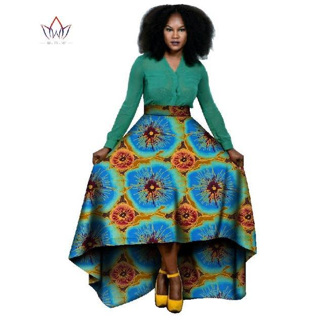 2017 High Waist Skirt Private Custom Maxi Skirt Unique Original Long Skirt Patterns Africa Cloth High Waist Skirt WY020