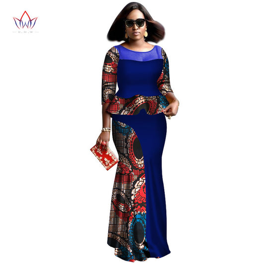 African women two piece o-neck print Skirt set african clothing plus size-OWY459