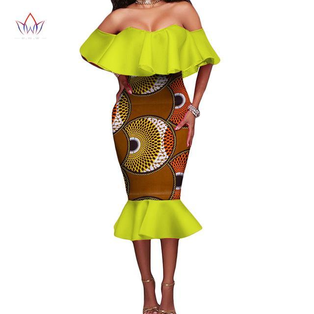 2017 African Off the Shoulder Dresses for Women Africa Dashiki for Women Slash Neck Dress Plus Size African Clothing BRW WY1866