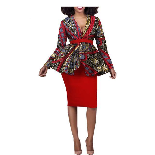 17cd41772ad67c Women ankara casual skirt set african print full sleeve ruffles top+knee-length  pencil. Hover to zoom