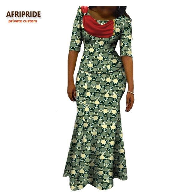 2017african autumn 2-pieces suit for women AFRIPRIDE half sleeve top with ribbons+ankle-length trumpet skirt casual suit A722632