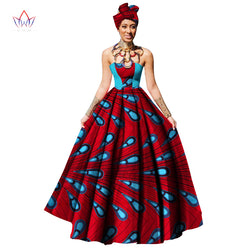 Womens African Dress Dashikis Print Ball Gown Party Dress, Maxi and Strapless Women gown with Free Headwear Plus Size-0WM1805 - without Necklace