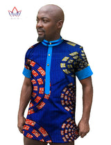 Custom Clothing African Print Wax Mens Short Sleeve Shirts Dashiki Shirt Casual Style Plus Size African Clothing Hot Sale WYN27
