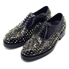 Black full rivet leathe rmen shoes leather  mens dress shoes oxford shoes for men
