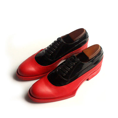 Red leather shoes men Geometric Sole Official Oxford Shoes Red Cowhide Belt men shoes