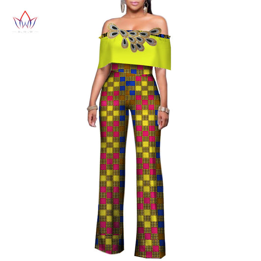Africa Women Rompers Womens Jumpsuit, African Off Shoulder Long Pants for Women High Waist Bodysuit#OWAME11