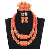 Big bold african jewelry Set,Large Orange Coral Bead Set/African Wedding Coral Bead Set/ Nigerian Bridal Beads Sets/African Coral Beads Sets,Latest Coral Jewelry Sets Nigerian Indian Orange Necklace Sets of Beads African Bridal Jewelry Sets JB060