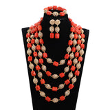 Classic gold and red african coral beads jewelry set wedding nigerian wedding african beads,Big bold african jewelry Set,Large Orange Coral Bead Set/African Wedding Coral Bead Set/ Nigerian Bridal Beads Sets/African Coral Beads/ Coral plus Gold Accessorie