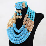 Big bold african jewelry Set,Large Orange Coral Bead Set/African Wedding Coral Bead Set/ Nigerian Bridal Beads Sets/African Coral Beads/ Coral plus Gold Accessories Jewelry set blue and gold 4 Rows Handmade Jewelry Sets Design fashion crystal Gift