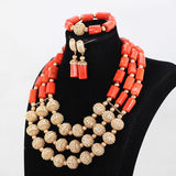 Beautiful orange and gold nigerian wedding beads african nigerian coral beads jewelry set, Big bold african jewelry Set,Large Orange Coral Bead Set/African Wedding Coral Bead Set/ Nigerian Bridal Beads Sets/African Coral Beads Sets