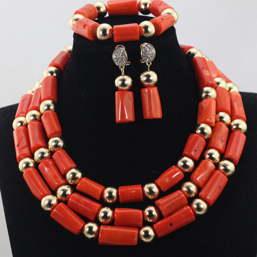 Nigerian African Orange Add Gold Balls Coral Beads Wedding Jewelry Set Costume Bridal Jewelry Sets Wholesale Free Shipping CJ748