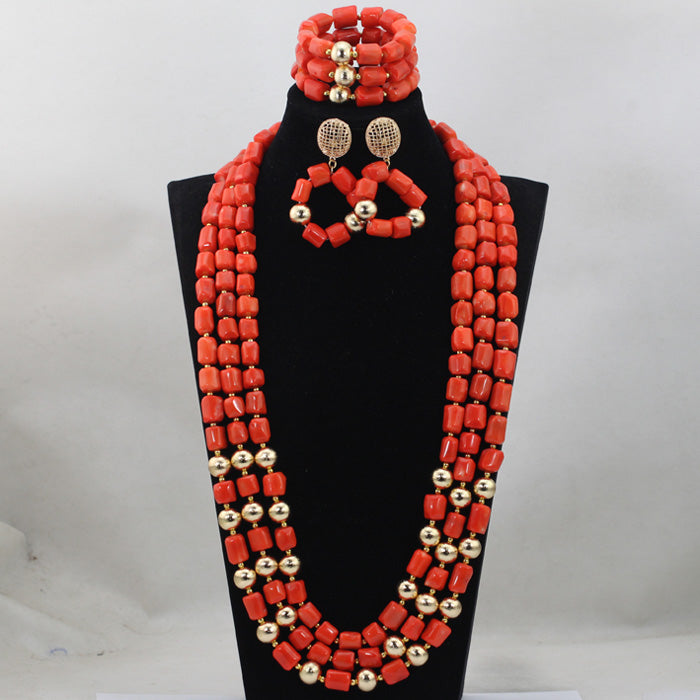 Fashion Red Long Design African Coral Beads Jewelry Sets Indian ...