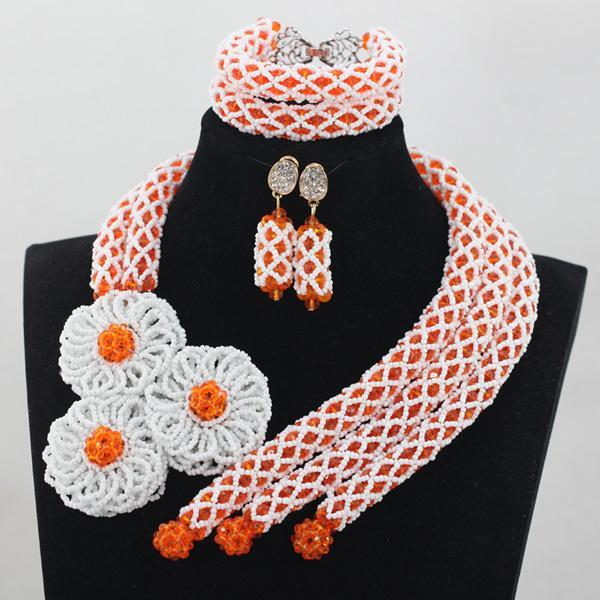 2016 Unique New Design Costume African Jewelry Sets Orange Small Coral Beads Jewelry Set Wedding Jewelry Set Free Shipping CJ783