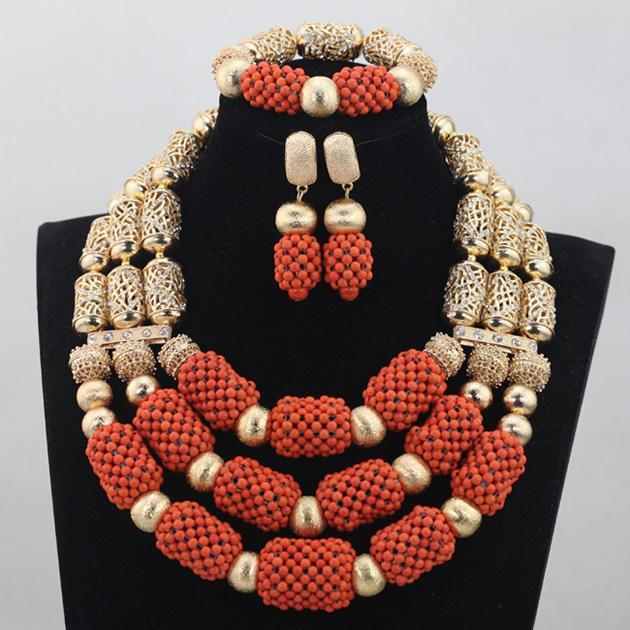 2016 new African Wedding Gold Balls Mix Orange Coral Handmade Beads Jewelry Set Necklace African Accessory Free Shipping CJ789