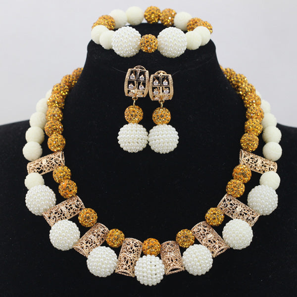 African Gold White Coral Beads Jewelry Set Add White Ball African