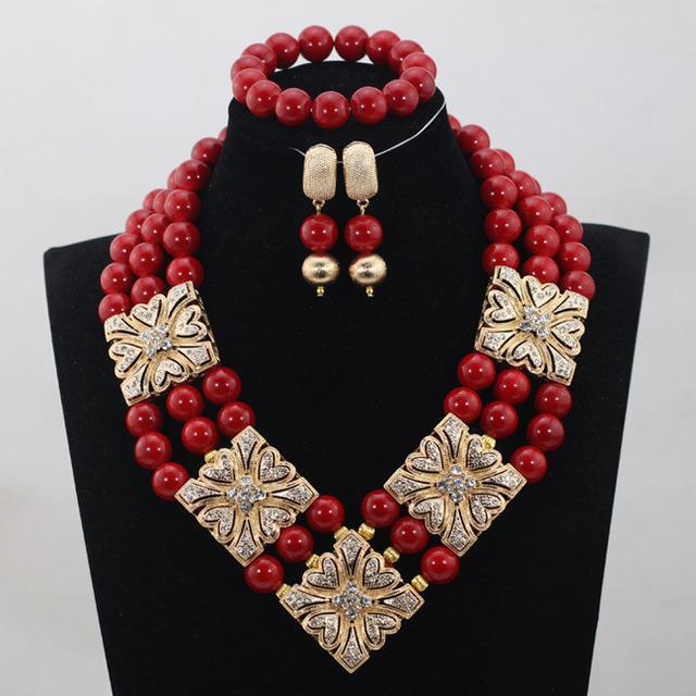 2017 New Design Wine Red Coral Beads Jewelry sets African Wedding Bridal/Women Beads Necklace Jewelry Set Free Shipping CJ818