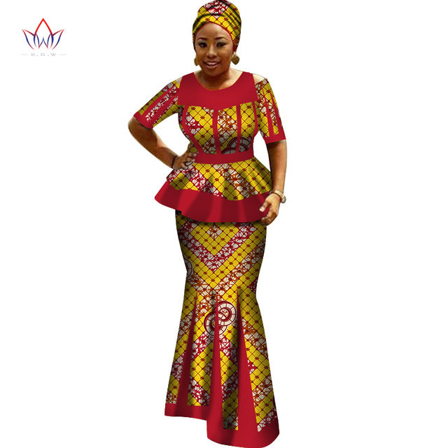 13371f84928 Africa Style Bazin Riche Dresses for Women Two Pieces Set Women Long ...