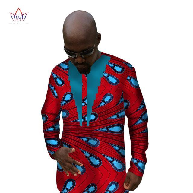 2017 African Print Clothing Dashiki Shirt Men Long Sleeve t Shirt Mens Clothes Plus Size African Clothing 6XL BRW WYN41
