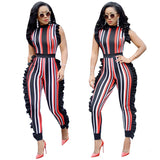 fashion rompers women jumpsuit sleeveless ruffles bodysuit women overalls striped elegant rompers-0W055