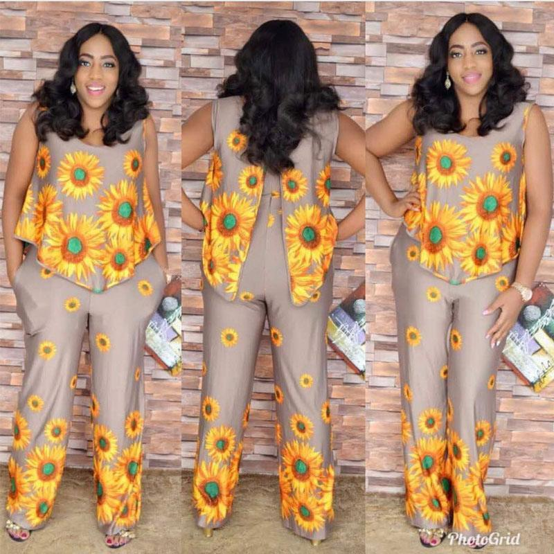 2017 Plus size  African Style For Women Fashion Design Traditional Jumpsuit Big Elastic ice silk Suit For Lady