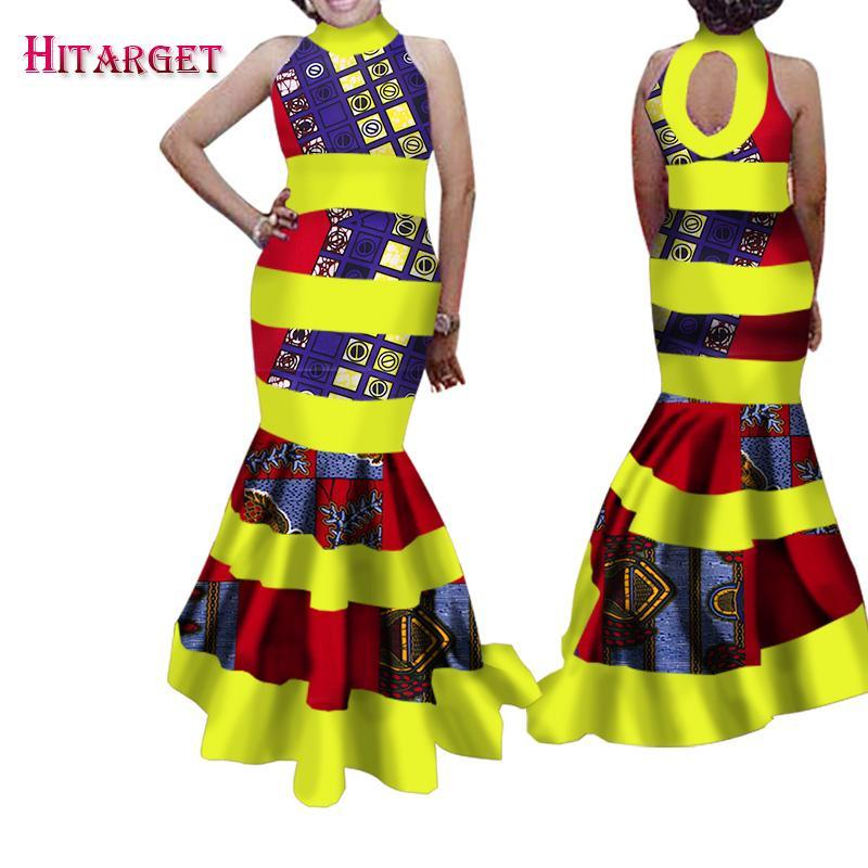 2017 Fashion African Dresses for Women Bazin Riche Patchwork Backless Vestidos Dresses Ankara African Clothes WY1512