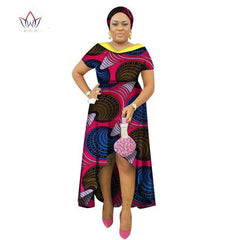 2017 African Clothes for Women Double-layer Neck Africn Bazin Dress Dashiki  Women Dress Cotton ... 876995205da8