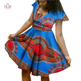 BRW Bazin Riche African Dress Print Dresses with Scarf Short Sleeve Women Clothing Dashiki African Print Wax Clothes 6XL WY924